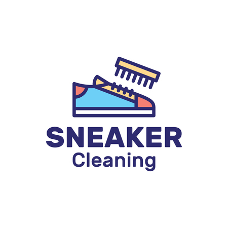 Vector Sneaker Cleaning  design template. Trainer clean label illustration with brush on background. Color outline shoe icon of processing, washing shoe with cleaners for company, business