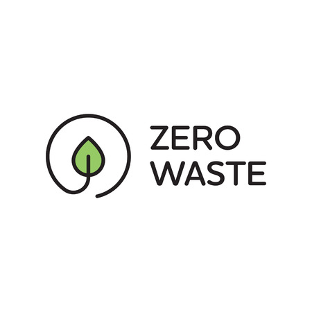 Vector Zero Waste design template. Linear eco icon label with leaf. Simple illustration of  Refuse Reduce Reuse Recycle Rot. No Plastic and Go Green concept with circle plant Illustration