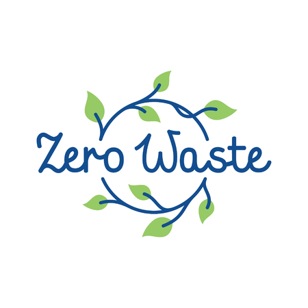 Zero Waste design template. Vector line eco icon label with leaves. No Plastic and Go Green concept with circle plant. Calligraphic symbol illustration of Refuse Reduce Reuse Recycle Rot