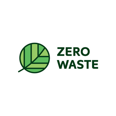 Zero Waste design template. Vector illustration of  Refuse Reduce Reuse Recycle Rot. Line art icon label with round leaf. No Plastic and Go Green concept with circle plant