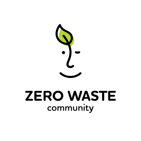 Vector Zero Waste design template. Linear eco icon with human face and leaf. No Plastic and Go Green concept. Man and plant label illustration of  Refuse Reduce Reuse Recycle Rot