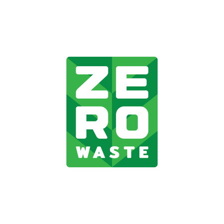 Vector Zero Waste  design template. Typography icon label with leaf background. Color illustration of  Refuse Reduce Reuse Recycle Rot. No Plastic and Go Green concept with plant