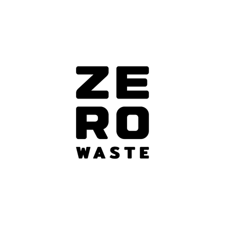 Zero Waste  design template. Vector typography icon label. Eco friendly illustration of  Refuse Reduce Reuse Recycle Rot. No Plastic and Go Green concept