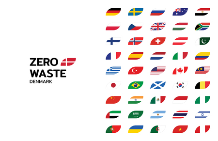 Zero Waste design template for different world countries. Vector icon label with leaf shaped flag for Europe, Asia, Africa, America, Australia. Illustration of  Refuse Reduce Reuse Recycle Rot