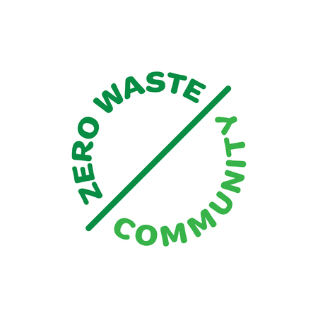 Vector Zero Waste Community template. Linear eco icon label in circle. Round illustration of  Refuse Reduce Reuse Recycle Rot. No Plastic and Go Green design concept Illustration