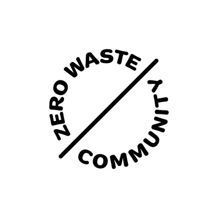Zero Waste Community  template. Vector round illustration of  Refuse Reduce Reuse Recycle Rot. Linear eco icon label in circle. No Plastic and Go Green design concept