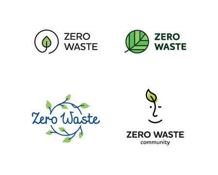 Vector Zero Waste template set. Linear eco icon labels with leaves. Color emblem illustrations of  Refuse Reduce Reuse Recycle Rot. No Plastic and Go Green symbol concept with circle and plant Illustration