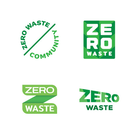 Vector Zero Waste template set. Eco icon labels with lettering and typography. Color emblem illustrations of  Refuse Reduce Reuse Recycle Rot. No Plastic and Go Green symbol concept
