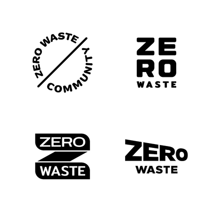 Zero Waste design template set. Vector icon labels with lettering and typography. No Plastic and Go Green symbol concept. Eco friendly illustrations of  Refuse Reduce Reuse Recycle Rot