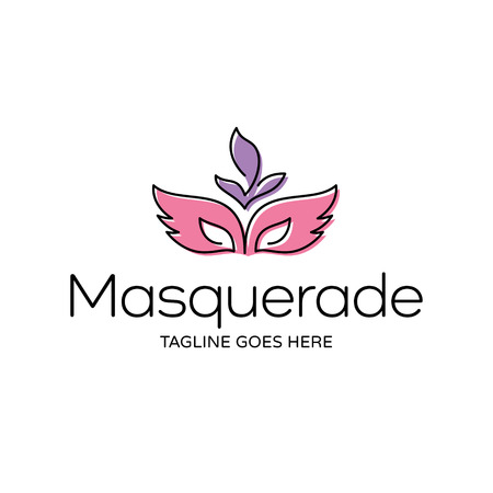 Vector Masquerade logo design template. Carnival party illustration background. Linear color festive concept with feather mask. Mardi Gras icon symbol