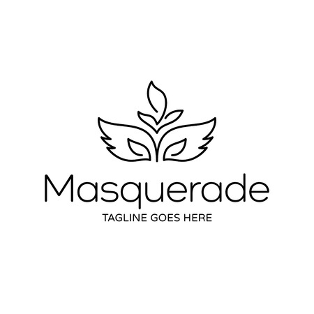 Masquerade logo design template. Vector carnival party illustration background. Elegant Mardi Gras icon symbol. Black linear festive concept with feather mask Stock Vector - 118142637