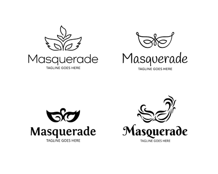 Vector Masquerade logo template set. Festive design concept with mask. Carnival masque party illustration background. Mardi Gras icon symbol collection in black Illustration