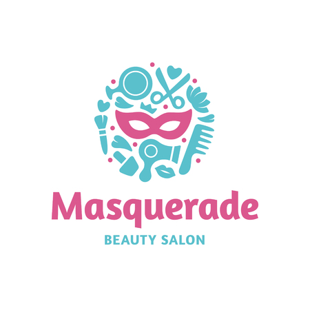 Masquerade Beauty Salon logo template. Vector hair and cosmetic studio label design. Woman care icon symbol. Beautiful style concept with mask