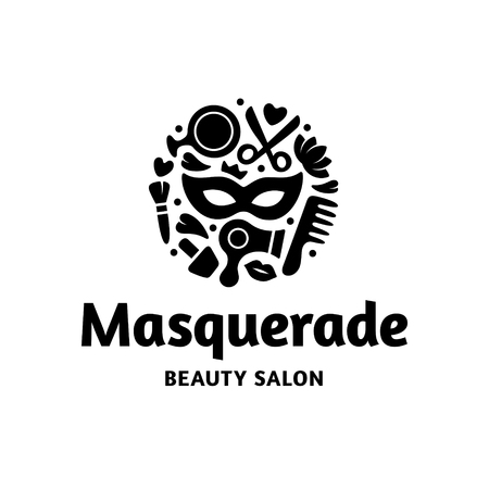 Vector Masquerade Beauty Salon logo template. Hair and cosmetic studio label design. Beautiful style concept with mask. Woman care icon symbol