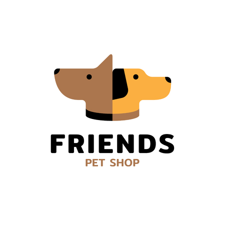 Pet Shop Friends logo design template. Vector domestic animal icon label for veterinary clinic, hospital, shelter, business services. Flat illustration background with dog and puppy head Illustration
