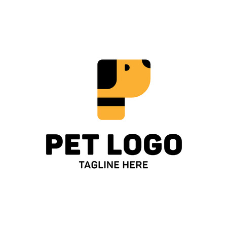 Vector Pet Logo design template. Graphic letter P icon label for veterinary shop, clinic, hospital, shelter, business services. Flat animal illustration background with dog or puppy head