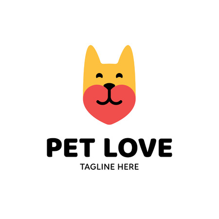 Vector Pet Love logo design template. Cute flat illustration background with animal head and heart. Friendly icon label for pet shop, veterinary clinic, hospital, shelter, business services