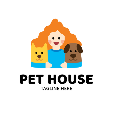 Pet House logo design template. Vector cute illustration background featuring animal home with dog, cat and girl. Color flat icon label for pet shop, veterinary clinic, hospital, shelter, hotel