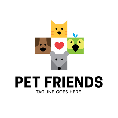 Pet Friends logo design template. Flat illustration background with dog, cat, bird, mouse in a plus shape. Vector animal icon label for veterinary clinic, hospital, vet services, shelter, shop Ilustração