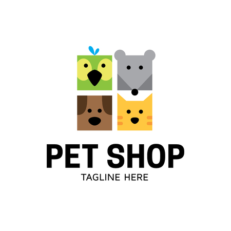 Vector Pet Shop logo design template. Flat illustration background with dog, cat, bird and mouse. Simple animal icon label for store, shelter, veterinary clinic, hospital, business services  Illustration