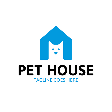 Vector Pet House logo design template. Minimal illustration background featuring animal home with cat. Flat icon label for shop, shelter, veterinary clinic, hospital, hotel