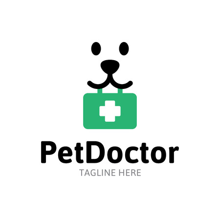 Pet Doctor medical logo design template. Flat illustration background with dog and first aid kit. Vector animal icon label for veterinary clinic, hospital, vet services and pharmacy