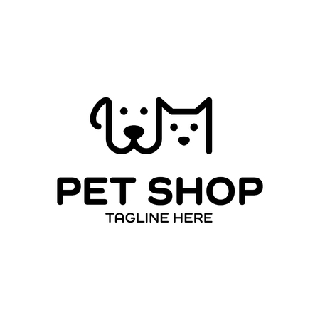 Vector Pet Shop logo design template. Black and white animal icon label for store, veterinary clinic, hospital, shelter, business services. Vet illustration background with dog and cat heads
