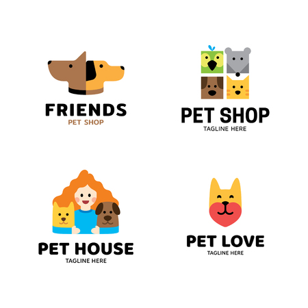 Vector pet logo design template set. Animal friend illustration collection with dog, cat, bird, man. Modern care and goods icon label for veterinary clinic, petfood, hospital, shelter, donation