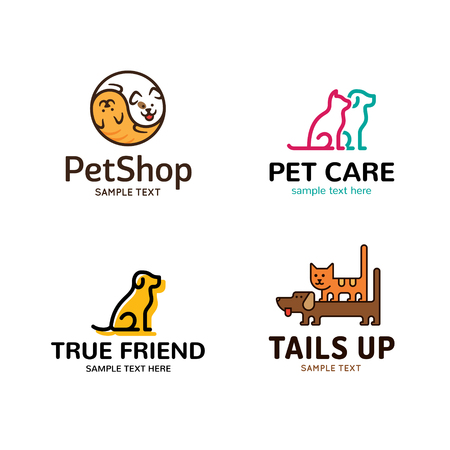 Pet logo design template set. Vector cat and dog symbol collection. Animal friend illustration background. Modern care and goods label for veterinary clinic, petfood, hospital, shelter, donation Illustration