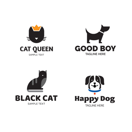 Vector pet logo design template set. Dog and cat symbol collection. Care and goods label for veterinary clinic, petfood, hospital, shelter, donation Animal friend illustration background