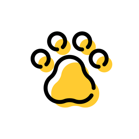 Vector paw print. Color dog foot illustration. Linear animal icon logo template Ilustração