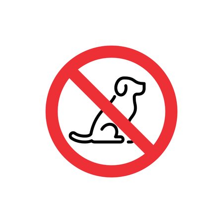 Vector No Dogs Allowed icon sign. Prohibition animal symbol illustration. Isolated round red sticker background with line pet