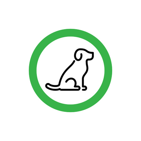 Vector animal friendly icon sign. Dogs are welcome. Pet allowed symbol illustration. Simple background print with green circle and line puppy