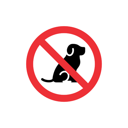 No Dogs Allowed icon sign. Vector prohibition animal symbol illustration. Isolated round red sticker background with pet
