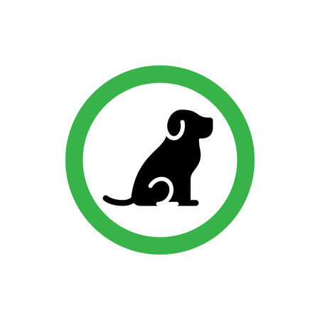 Animal friendly icon sign. Dogs are welcome. Vector pet allowed symbol illustration. Simple background print with green circle and puppy
