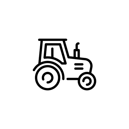 Vector farmer tractor icon template. Line village harvest truck illustration. Color sign background for agriculture business, local market. Farm organic food symbol with heavy machinery