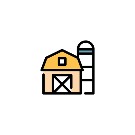 Vector farm house icon template. Line barn and silo symbol illustration. Color local farmer food background for organic natural products
