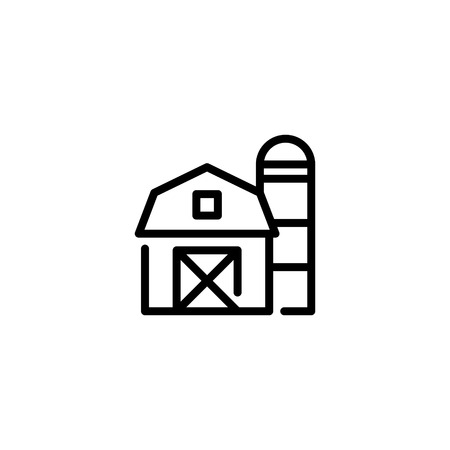 Vector farm house icon template. Line barn and silo symbol illustration. Local farmer food background for organic natural products Ilustração