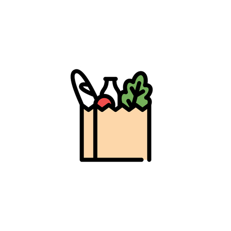 Vector food bag icon template. Farmers market paper box illustration. Line grocery background Vectores