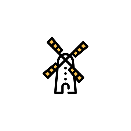 Vector farm mill icon template. Line wind generator symbol illustration. Local agriculture farmer background for eco business, wheat factory