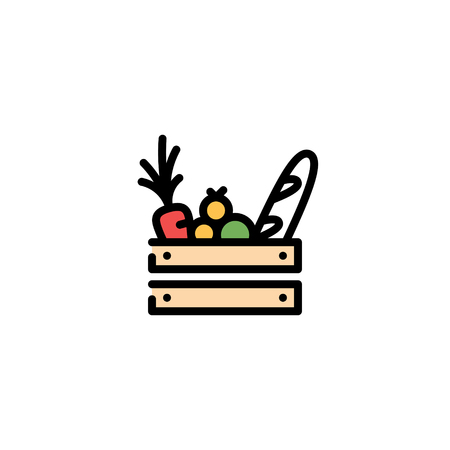 Vector food wooden box icon template. Farmers market wood crate illustration. Line grocery background with organic fruits and vegetables. Healthy natural product design concept