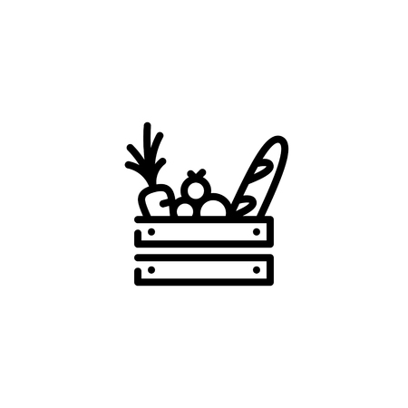 Vector food wooden box icon template. Line grocery background with organic fruits and vegetables. Farmers market wood crate illustration. Healthy natural product design concept Çizim