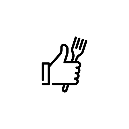 Vector hand like icon template. Thumbs up sign background. Good food illustration with fork sign. Line symbol for farmers market, cafe, restaurant, catering, cooking business
