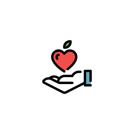 Vector hand with fruit heart icon template. Good food illustration with vegetable. Line love symbol for local farmers market, healthy natural products, eco organic business.Food donation, charity