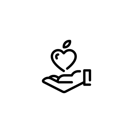 Vector hand with fruit heart icon template. Line love symbol for local farmers market, healthy natural products, eco organic business.Food donation, charity. Good food illustration with vegetable Ilustração