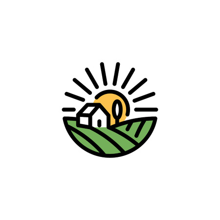 Vector farm house icon template. Line organic farming symbol illustration with field, sun, rays. Circle natural food background for healthy fresh eco products, farmers market