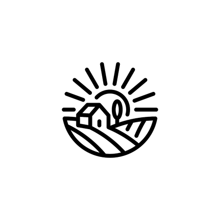 Vector farm house icon template. Linear organic farming symbol illustration with field, sun, rays. Natural food background for healthy fresh eco products, farmers market in circle form Ilustração