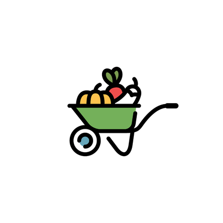 Vector farmers market wheelbarrow icon template. Line food cart symbol illustration. Farm greengrocery background with organic fruits and vegetables. Healthy natural product design concept Ilustração