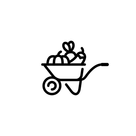 Vector farmers market wheelbarrow icon. Farm greengrocery background with organic fruits and vegetables. Line food cart symbol illustration Healthy natural product design concept