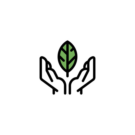 Vector hands holding leaf icon template. Organic eco illustration background. Line friendly environment symbol for local farmers market, healthy natural products, bio business Illustration